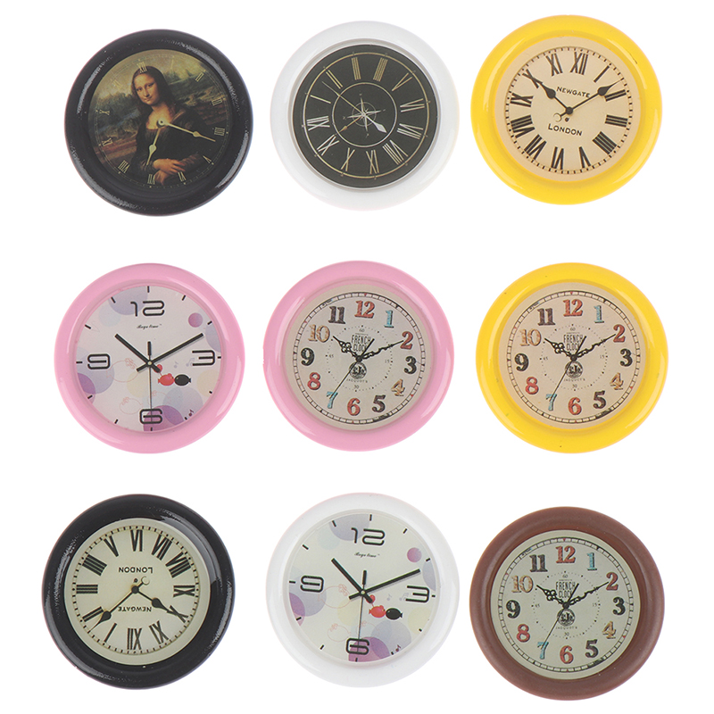 New 1:12 Scale Resin Dollhouse Miniature Wall Clock Play Doll House Miniaturas Home Decor Toy Pretend Play Furniture Toy