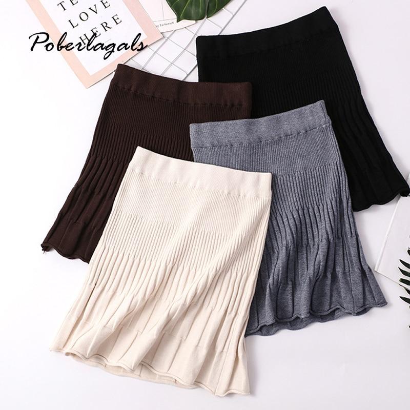 Autumn Winter Women Knitting Skirt 2019 Womens Knit Retro Elasticated Waist High Waist Ruffles Hip Skirt Female Twist Skirts