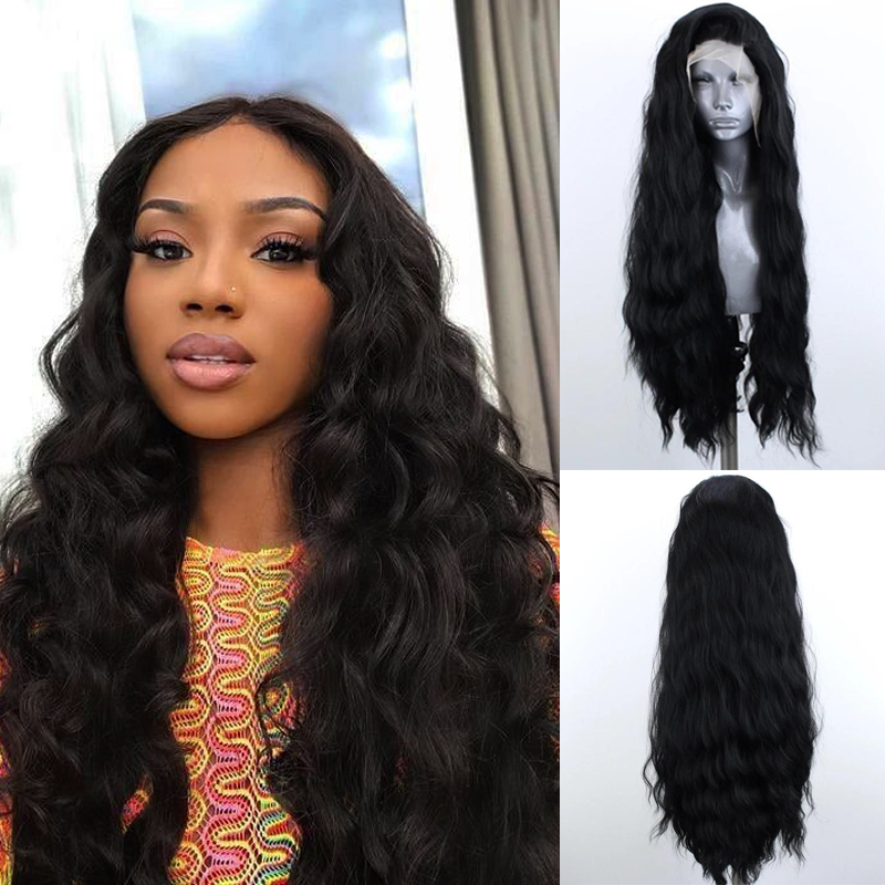 Charisma Long Wavy Hair Black Wig High Temperture Fiber Synthetic Lace Front Wig With Baby Hair Free Shipping