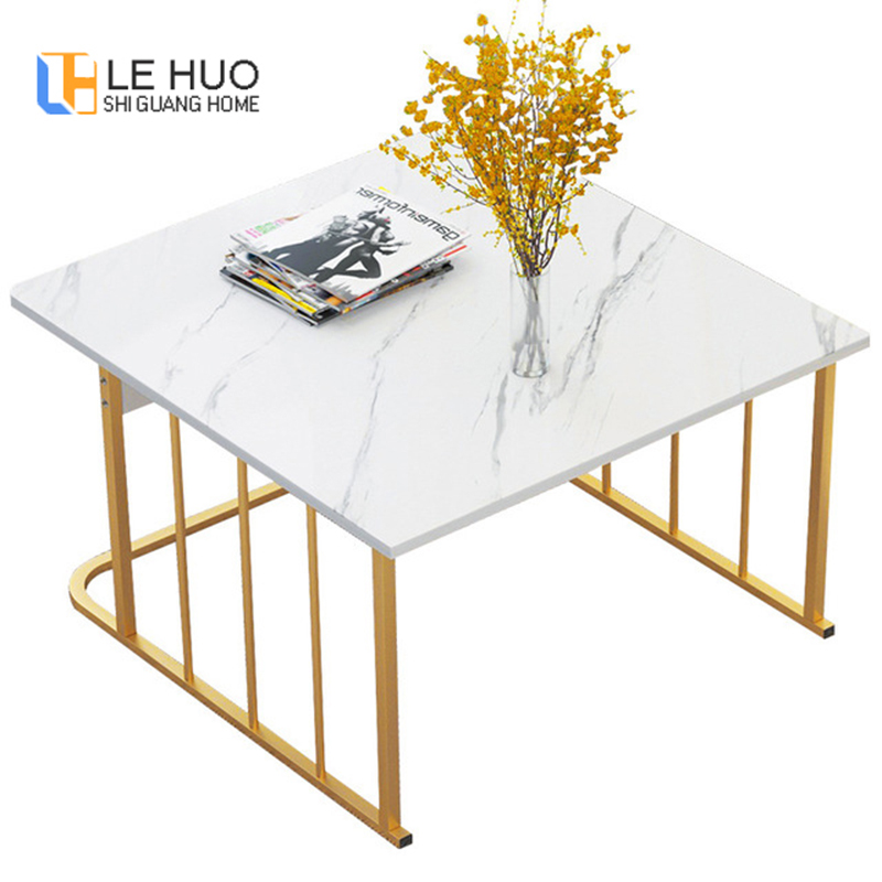 Wood Steel Marble Top Coffee Table Living Room Sofa Side Table Small Dining Table Black White Luxury Tea Table For Living Room Bedroom