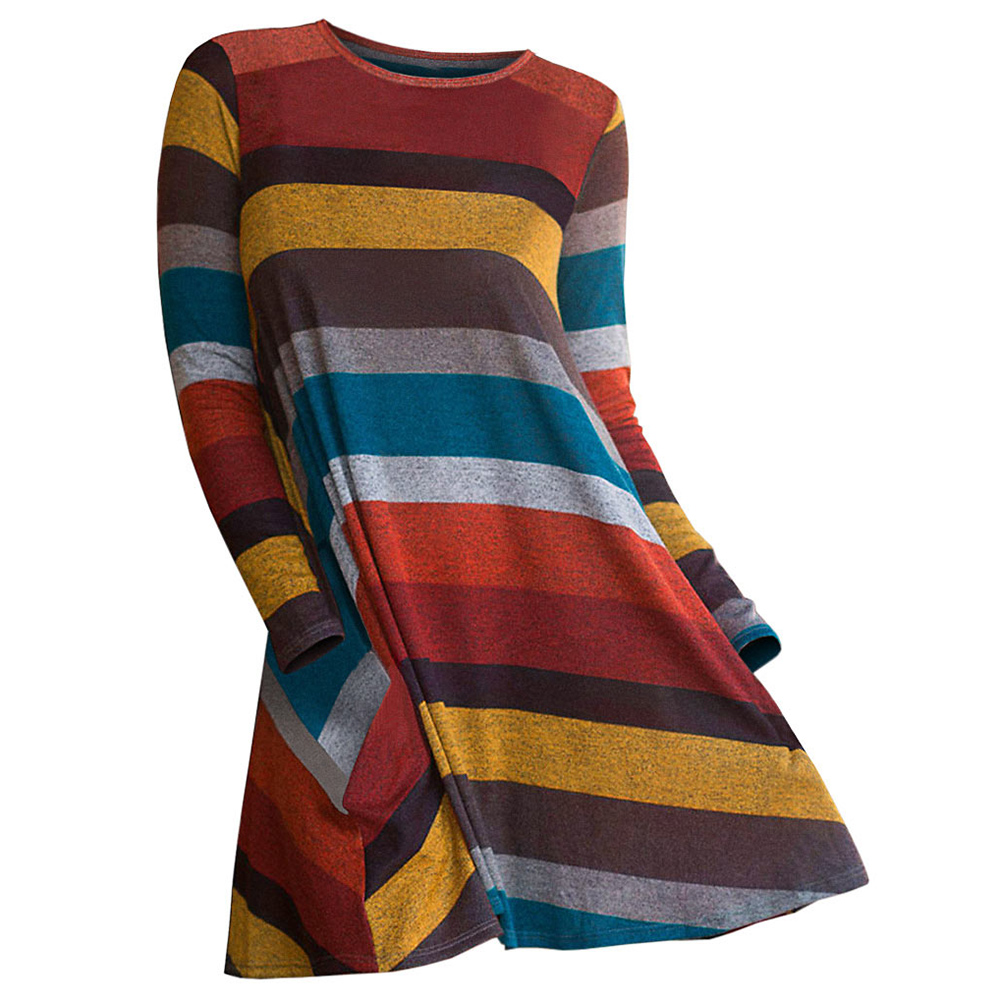 ROSEGAL Plus Size Color Blocking Striped Knitwear Women O-Neck Pullovers A-line Casual Long Sweaters Big Size 2019 Autumn
