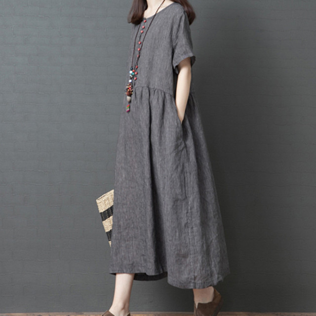 Uego Short Sleeve Loose Summer Dress Button striped Cotton Linen Vintage Dress Plus Size Women Holiday Casual Midi Dress 1