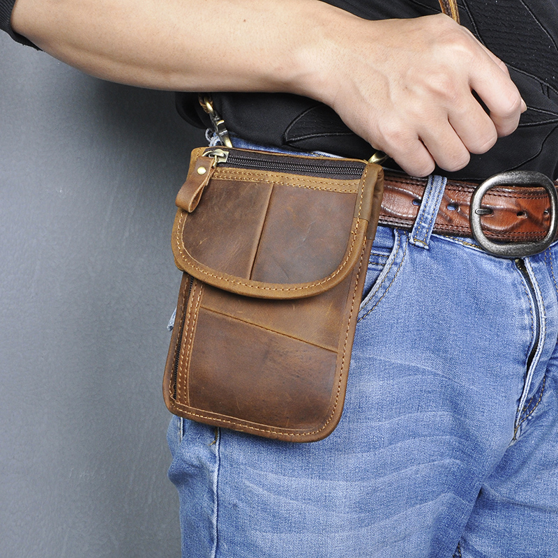 Fashion Real Genuine Leather Hook Small Waist Cross-body Bag 6