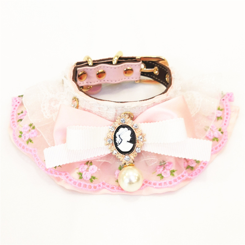 New Products Soft Pink Can Carve Writing Pearl Rhinestone Pet Collar Dogs And Cats-Traction Bibs Pet Supplies
