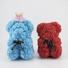 Розовый медведь романтическая искусственная Роза плюшевый медведь с короной Сладкая лента вечный цветок юбилей день рождения День Святого Валентина подарок