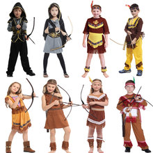 Umorden çocuklar hint prenses Huntress kostüm kızlar için çocuk hint prens yerli avcısı kostümleri Boys için cadılar bayramı giyinmek