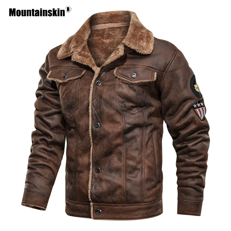 Mountainskin Winter Men's Coat FashionSuede Fur Lapel Motorcycle Biker Jacket Warm Thick Fleece Windproof Jackets Male SA883