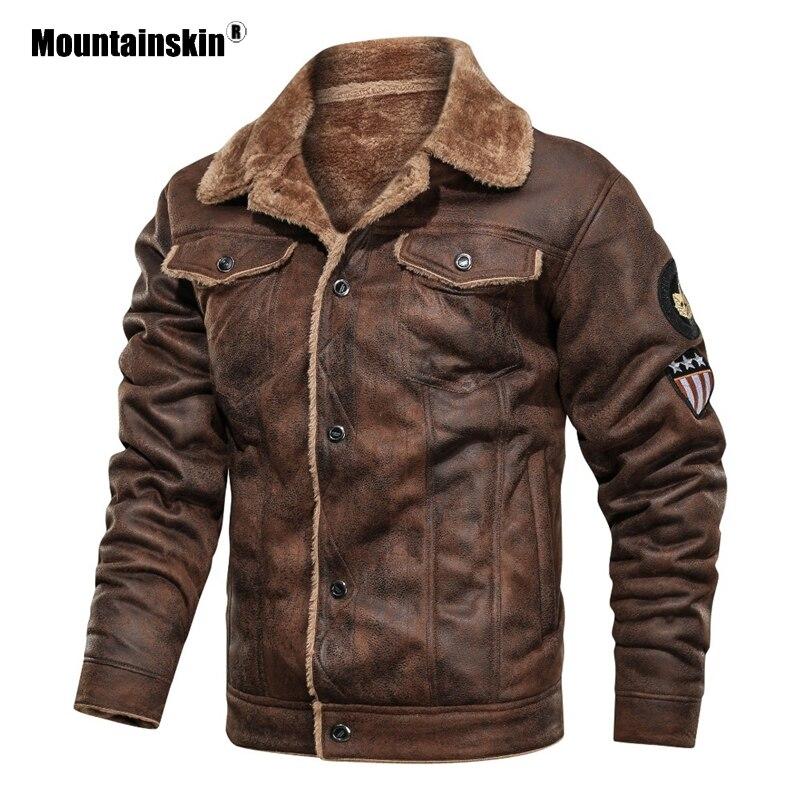 Mountainskin Winter Men's Coat FashionSuede Fur Lapel Motorcycle Biker Jacket Warm Thick Fleece Windproof Jackets Male SA883