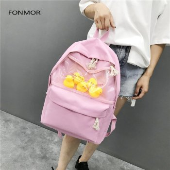 2019 newTransparent small yellow duck backpack Korean version Harajuku girl high school student bag female tide 4 durk