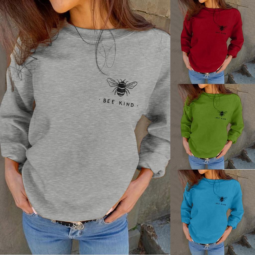 2020 Bee Kind Crewneck Womail Sweatshirts Women's Fashion Top Harajuku Autumn Solid Print Hoodies Fall Clothing Drop Shipping2XL
