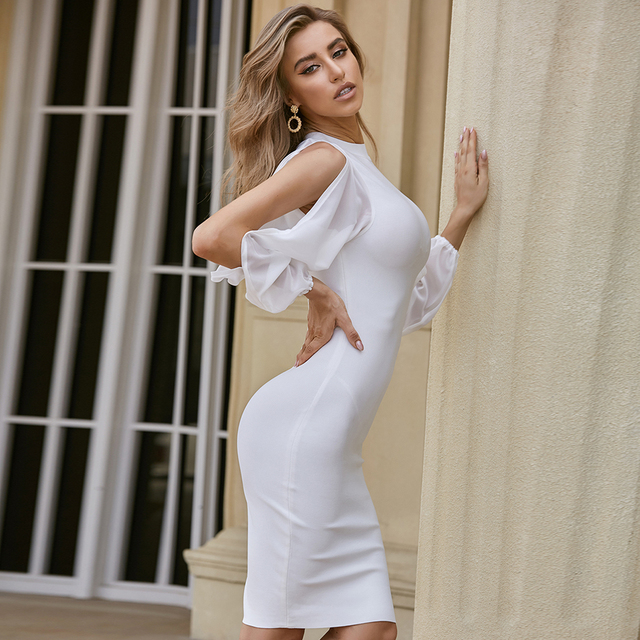 ADYCE 2021 New Autumn Women White Long Sleeve Bandage Dress Sexy Bodycon Mini Celebrity Runway Club Party Bandage Dress Vestidos 5