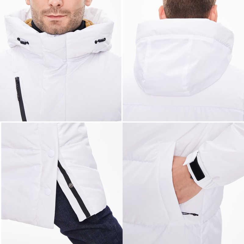 Asesmay-белая куртка на утином пуху мужские парки длинное пальто с капюшоном гусиное перо wellensteyn минус градусов толстые теплые пуховики