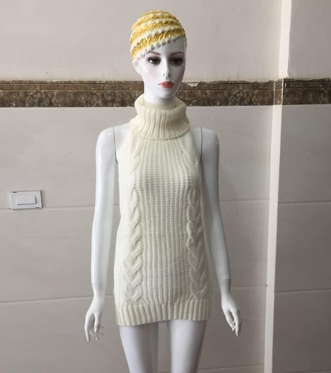 2020 Summer New Turtleneck Sleeveless Long Virgin Killer Sweater Japanes Knitted Sexy Backless Women Sweaters And Pullovers 11