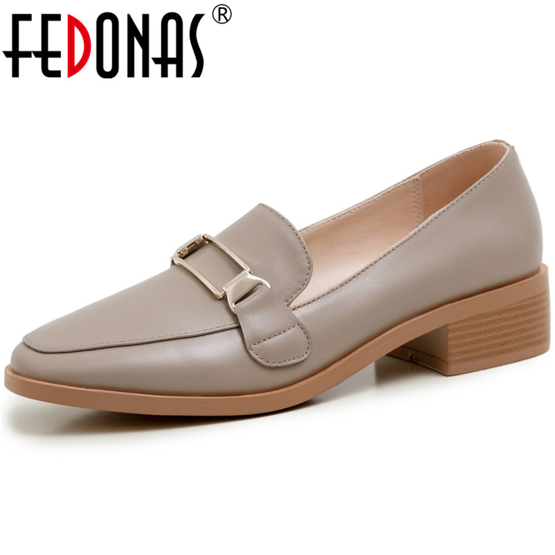 FEDONAS  Women Pumps Metal Decoration Cow Leather Working Shoes Spring Summer Shallow Elegant 2020 Fashion Shoes Woman