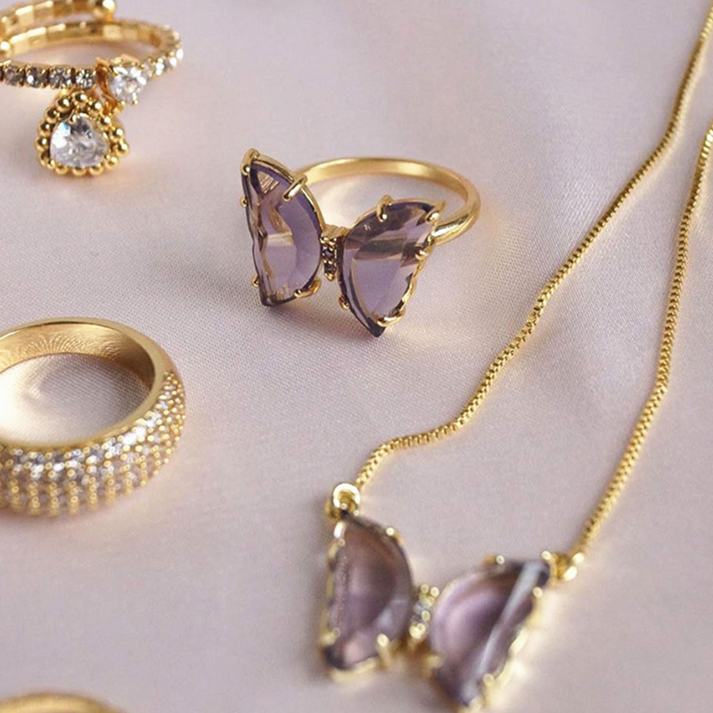 New fashion gilded copper women romantic crystal butterfly necklace earring ring set jewelry