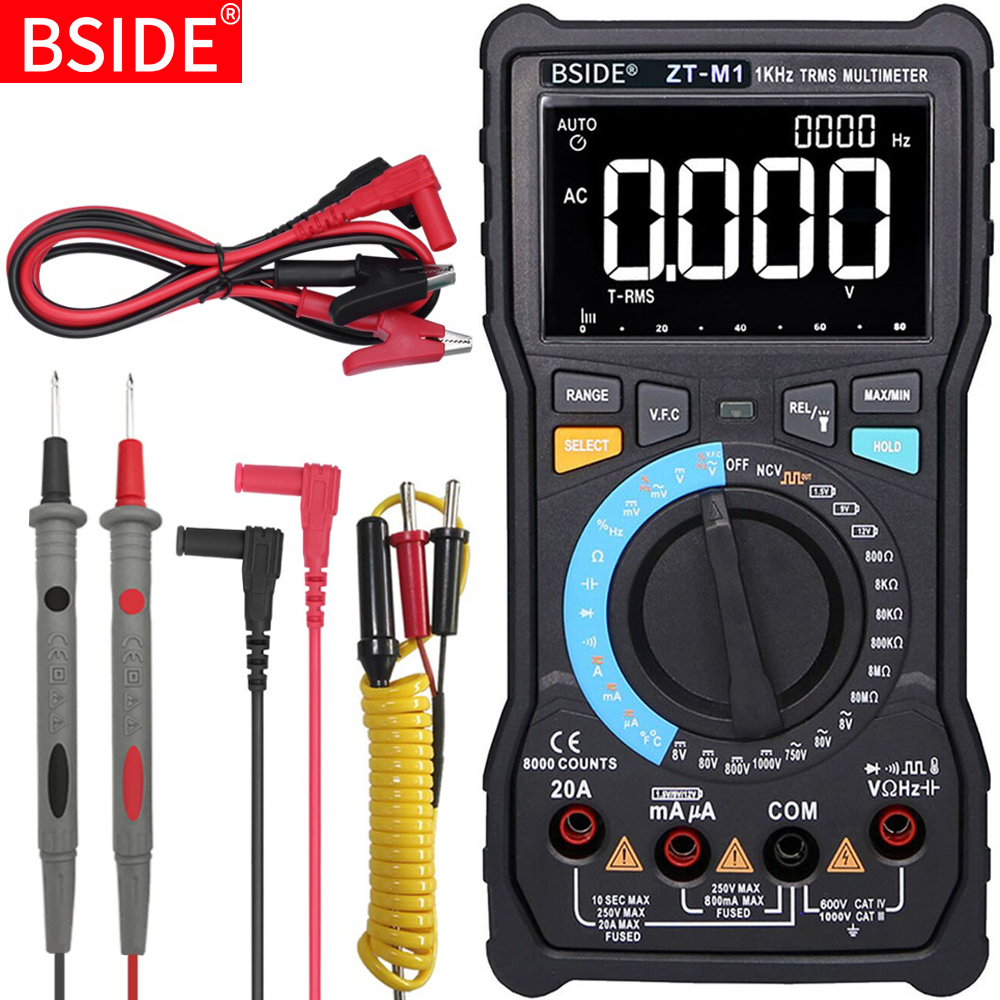 Digital Multimeter BSIDE ZT-M1 Auto/Manual 3-Line Triple Display Voltage Battery Tester VFC Square Wave Output Capacitance Test