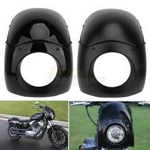 Motocykl czarny Outlaw klub rower Sport reflektor Fairing szyby dla Harley Sportster XL 883 1200 Dyna FXR FXD Touring Glide