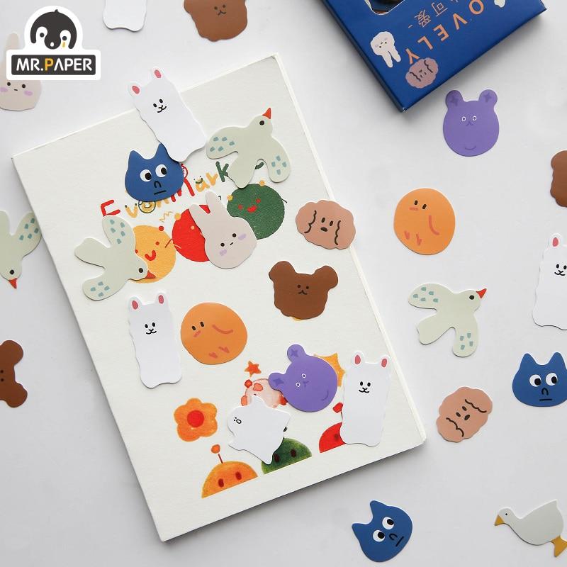 Mr.Paper 100pcs/lot Kawaii Animal Mini Coated Paper Stickers Deco Bag Minimalist Toys Write Down Points Luggage Artsy Style Memo 2