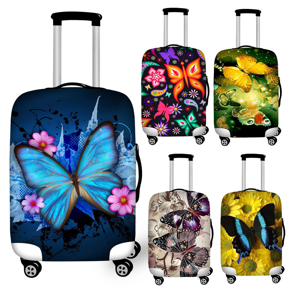 Nopersonality Butterfly Print Luggage Protective Cover Stretch Waterproof Suitcase Covers For 18-32 Suit Case Travel Accessories