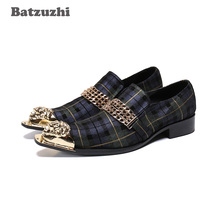 Batzuzhi Fashion Men Dress Shoes Leather Black Pointed Metal Toe Formal Leather Dress Shoes Men Zapatos Hombre Business/Party new arrival black alligator genuine leather handmade metal tip spikes pointed toe slip on formal dress shoes sexy fashion mans