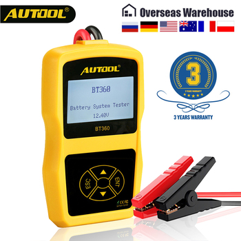 AUTOOL BT360 Car Battery Tester 12V Battery Diagnostic Test Digital Automotive Multi-Language 12 Volt Battery Analyzer for Auto 12v portable car battery charging tester battery life percent analyzer for car truck boat battery system test
