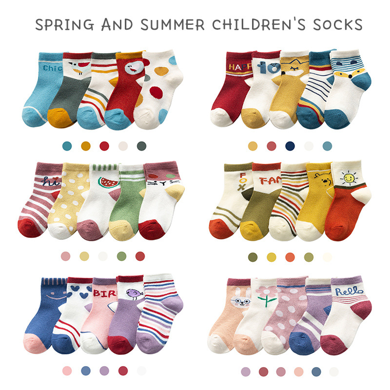 5Pairs/Lot Cartoon Animal Multicolor Mesh Cotton Summer Spring Newborn Boy Kids  Baby Girls Breathable Socks for 1-12T