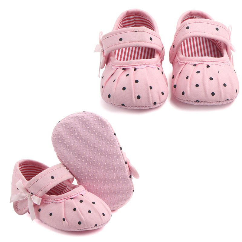 Baby Toddler Shoe Polka Dot Pattern Baby Girl Princess Shoe Soft Soled Shoe For Baby Girl First Walker Shoes