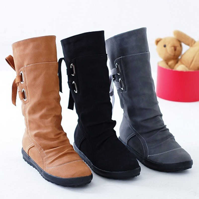Artı boyutu kadın kar botları moda toka düz orta buzağı Martin çizmeler kadın siyah Lace Up deri sıcak kış ayakkabı kadın T49