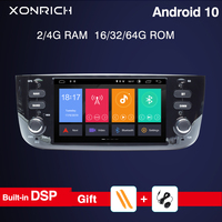 DSP 4GB 64G Autoradio 1 Din Android 10 Car DVD Player Stereo For Fiat/Linea/Punto evo 2012 2015 Multimedia GPS Navigation RDS
