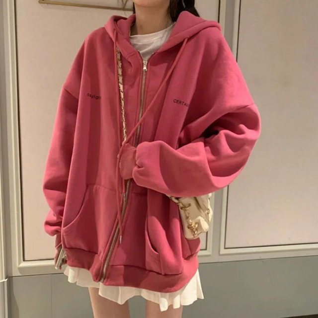 Zip-up Women Korean Style Hoodies Vintage Solid Color Long Sleeve Oversized Hooded Sweatshirt Lady Women Casual Large Coats 6