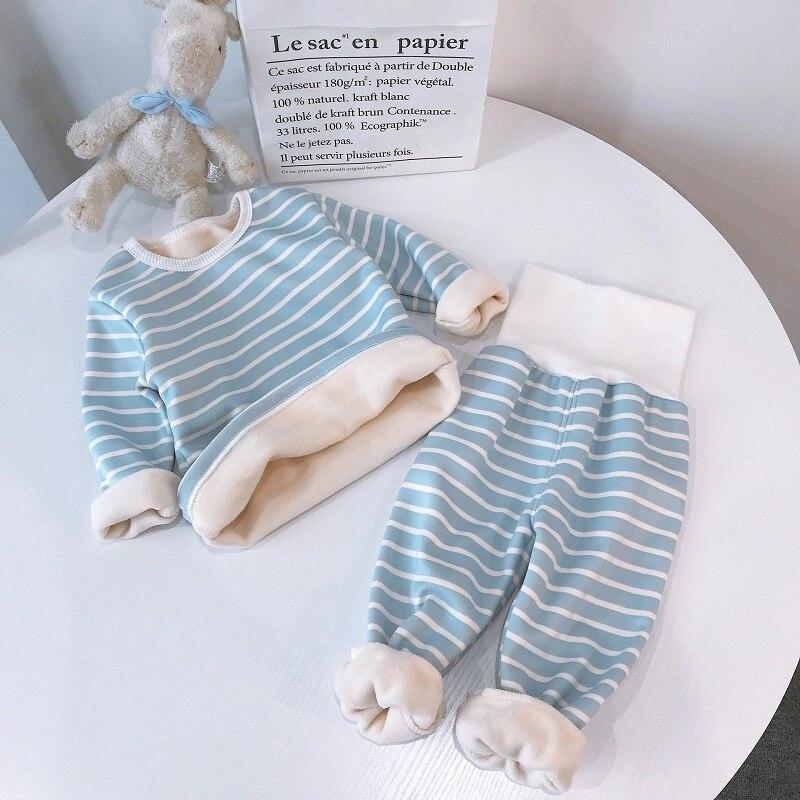 stripe pajamas set long sleeve tshirt+pant kids boy girl pijamas clothes high waist sleepwear Toddler pyjamas children winter 3