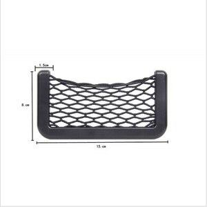 Image 5 - Araba Net çanta araba organizatör ağları 15X8cm otomotiv cepler yapıştırıcı ile Visor araba Syling çanta depolama araba araçlar için cep telefonu