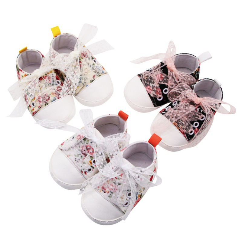 Baby Shoes Baby Girls Breathable Floral Print Anti-Slip Shoes Sneakers Soft Soled First Walkers For Newborns