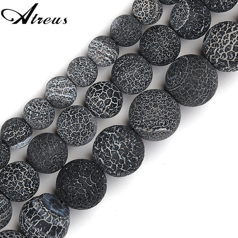 Wholesale 6 8 10 mm Black Frost Cracked Agates Beads Weathered Onyx Natural Stone Beads For DIY Bracelet  Jewelry Making