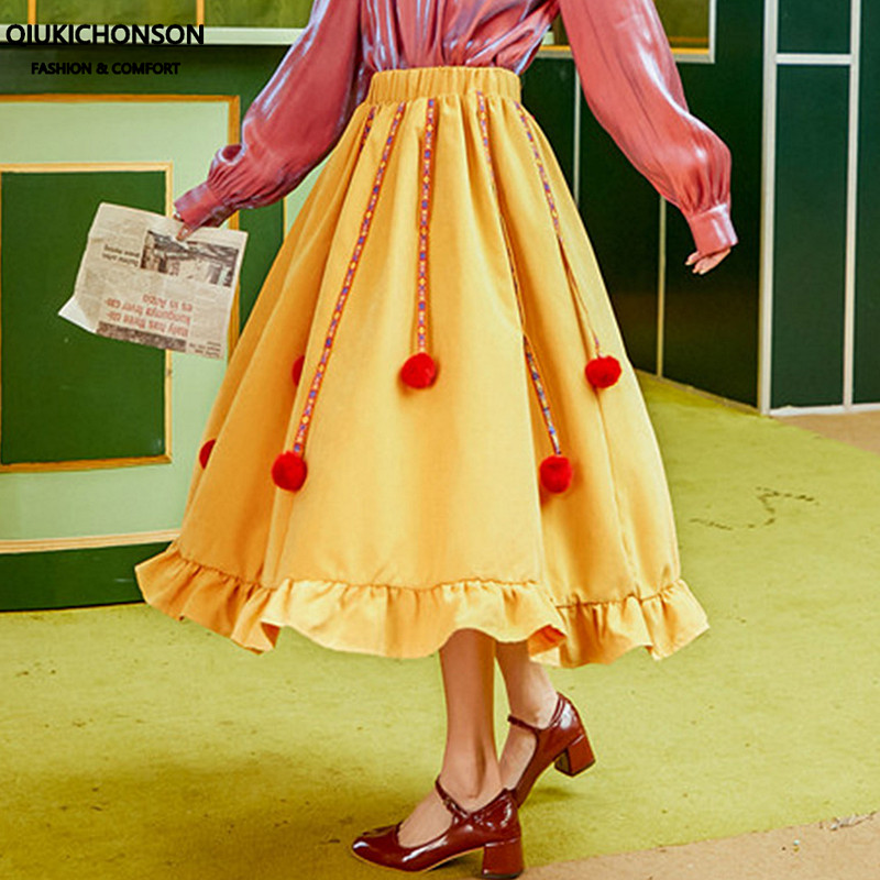 Qiukichonson Midi <font><b>Skirt</b></font> Women 2020 Spring Summer High Waisted Lolita Ruffles <font><b>Skirt</b></font> Ribbon Fuzzy <font><b>Ball</b></font> Patchwork Yellow <font><b>Skirt</b></font> image