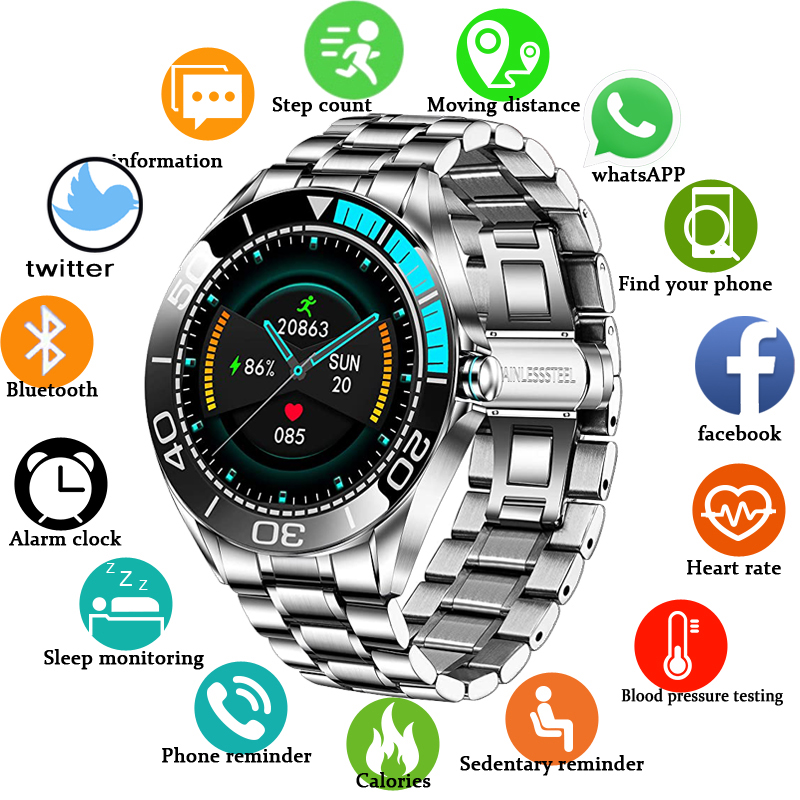 LIGE – montre connectée de sport pour hommes, étanche IP68, moniteur d'activité physique, de fréquence cardiaque et de pression artérielle, pour Android et ios