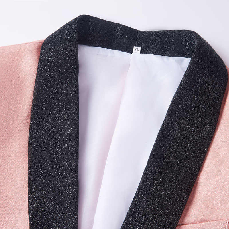 PYJTRL para hombre elegante brillante Rosa champán moda Casual Blazers boda novio fiesta de graduación vestido traje chaqueta cantantes abrigo traje