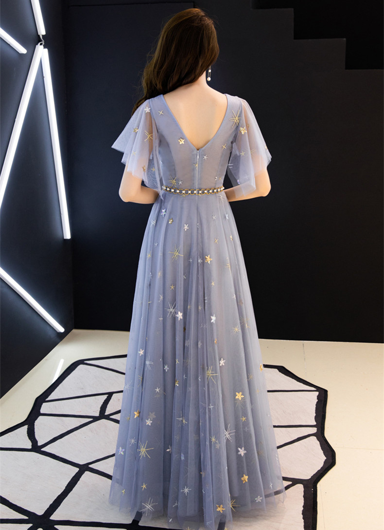 JaneVini 2020 Elegant Gray Blue Long Prom Dresses with Sashes A Line V Neck Short Sleeve Star Pattern Sequins Tulle Formal Dress