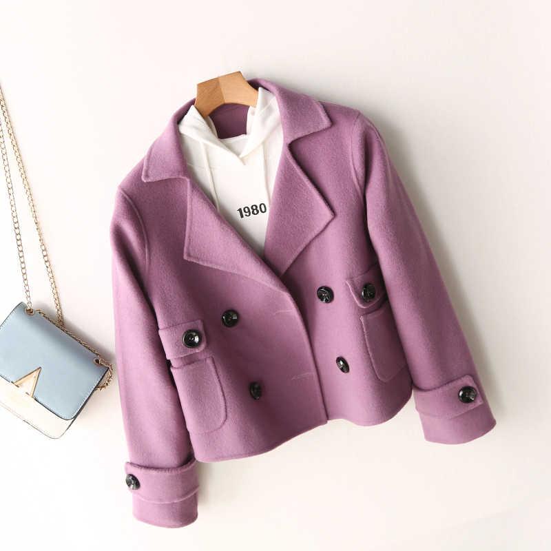 Inverno 100% casaco de lã das mulheres roupas outono 2019 elegante do vintage cashmere jaqueta senhoras curto lã jaquetas hiver dy017
