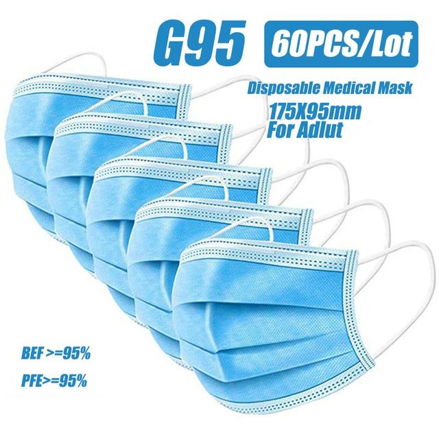 G95 N95 Medical Face Mask 60 Pcs Disposable Medical Masks Respirator 3 Layer Earloop Masks For Adult Surgical Medical Masks 5