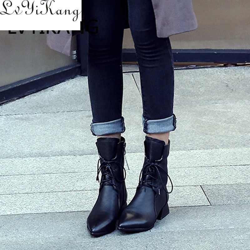 2019 Da Thật Chính Hãng Da Nâu Mũi Nhọn Nữ Mắt Cá Chân Giày Gót Thấp Vuông Xuân Thu Nữ Mắt Cá Chân Giày Zapatos De mujer