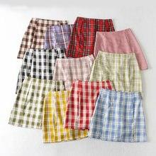 Летняя женская юбка карандаш с высокой талией клетчатая уличная
