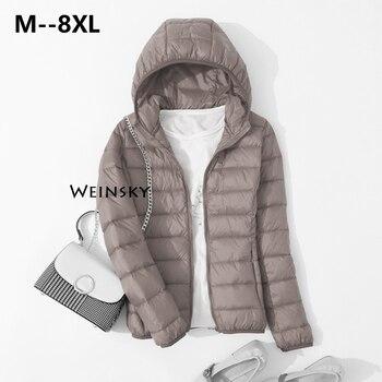 Blouson en duvet blanc à capuche pour femme, ultraléger et mince, manteau chaud d'hiver, Parka, vêtements d'extérieur portables, printemps, automne 1