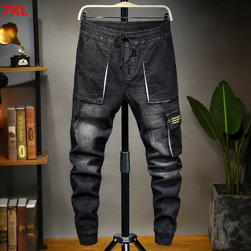Spring denim overalls male personality casual large size trousers harem pants black 7XL 6XL jean men pants brand