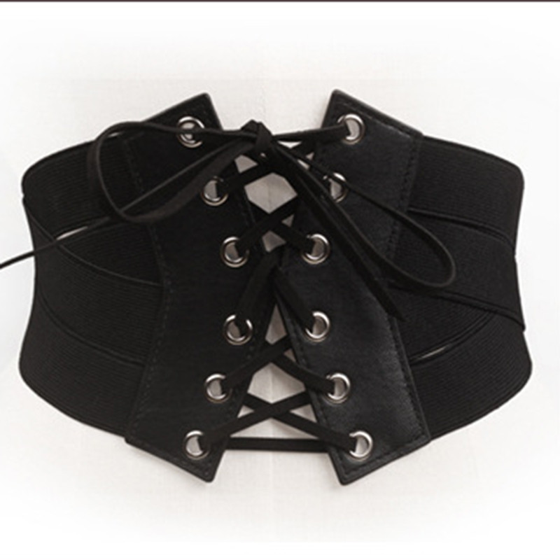 2020 Women Vintage Black Stretch Cross Bracket Strap Girdle Up High Waist Corset Bandage Women Cincher Wide Belts Slimming Body