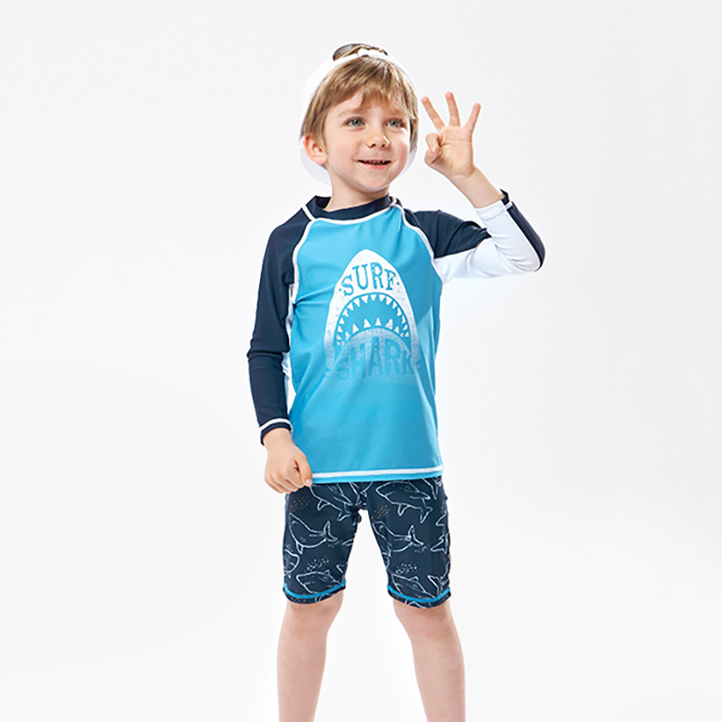 KID'S Swimwear Foreign Trade Export Middle And Large Boy BOY'S Split Type Boxer Long Sleeve Sun-resistant Cartoon Sharks Bathing