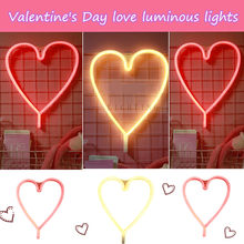Valentine's Day DIY Heart-shaped Rose Gift Pink Love Night Lights LED Neon Signs Battery Wall For Home Decor Bedroom(China)