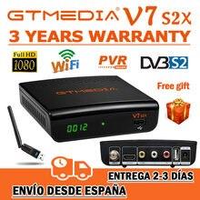 1080p gtmedia v7 s2x DVB-S2 receptor de satélite com usb wifi gtmedia v7s2x receptor atualização freesat v7s hd do armazém de espanha