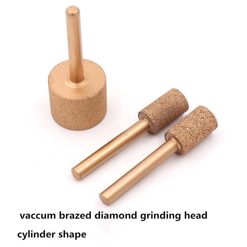 6mm Shank Diamond Vaccum Brazed Cylinder Grinding Head  Jade Stone Carving Grinding Head