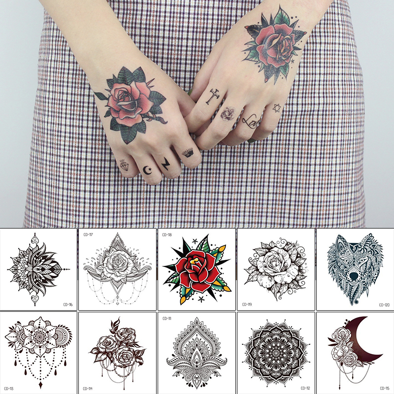 Hand Rose Tattoo Mehndi Stickers For Hand Finger Mandala Temporary Tattoo Sticker Fake Henna Black Indian Arabic Tattoo Water